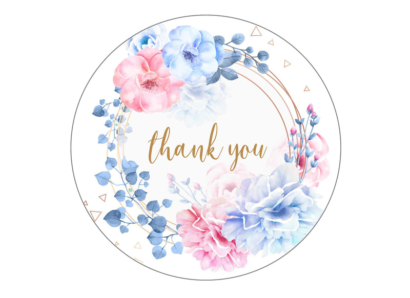 large round edible cake topper with a pretty floral design to say thank you