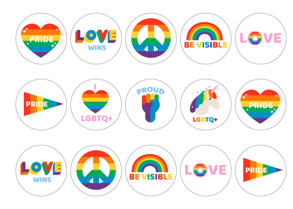 15 cupcake toppers with pride icons