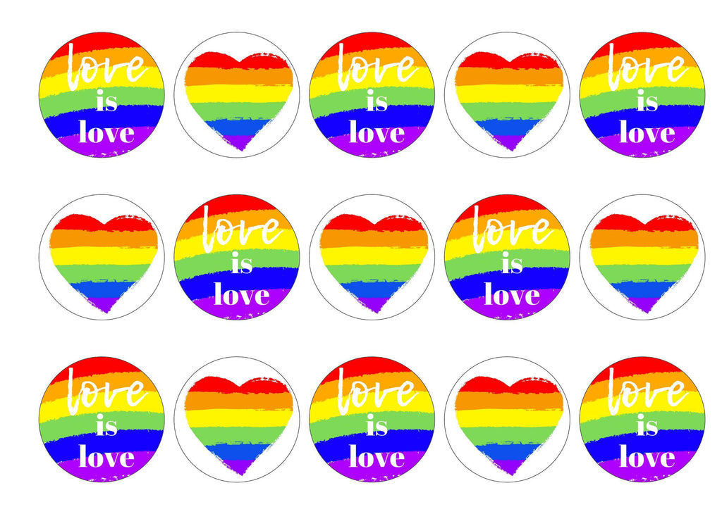 15 printed cupcake toppers with a love is love theme for LGBT Pride