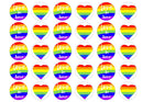 30 edible cupcake toppers with a love is love theme for LGBT Pride