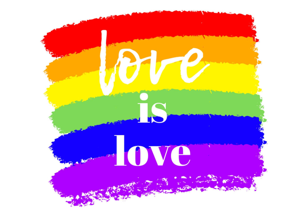 A4 cake topper with a love is love theme for LGBT Pride