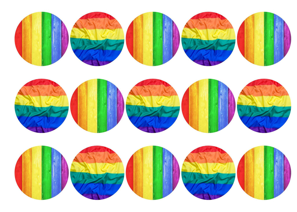 15 printed cupcake toppers with images of the Pride Rainbow