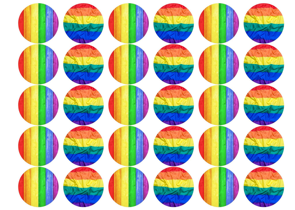 30 edible cupcake toppers with images of the Pride Rainbow