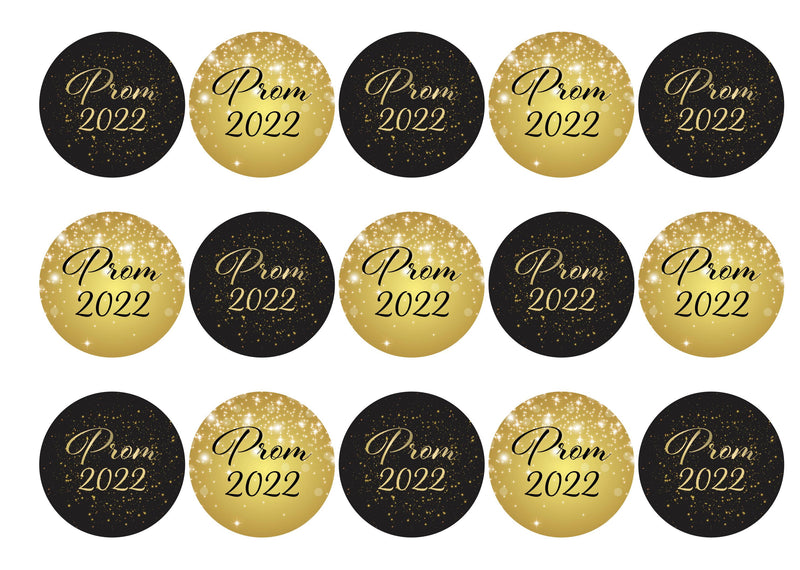 15 printed cupcake toppers with a prom fireworks theme