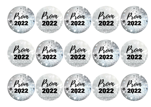 15 printed silver sparkle prom cupcake toppers