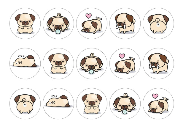 Edible printed cupcake toppers - pugs