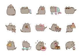 Printed cupcake toppers featuring Pusheen the Cat