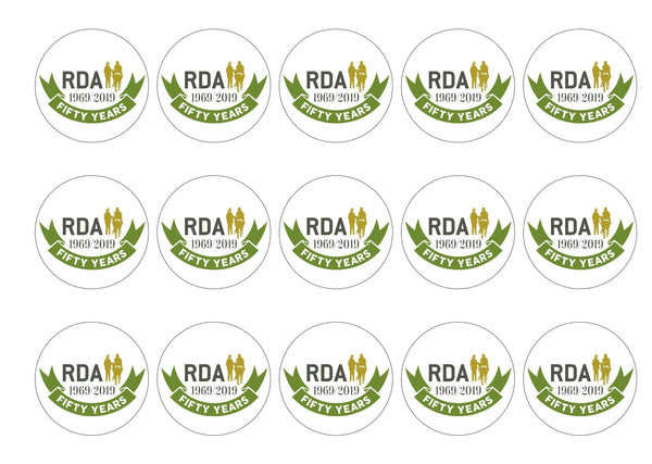15 printed cupcake toppers supporting RDA