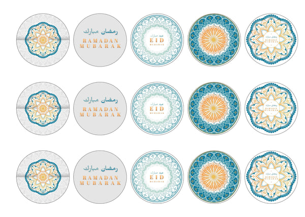 15 printed cupcake toppers with mandala design for Ramadan Mubarak and Eid Mubarak