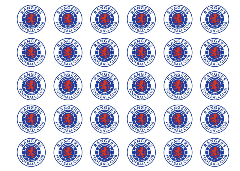 30 edible cupcake toppers with the Rangers FC badge
