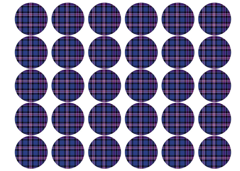 Printed edible cupcake toppers with Rangers tartan