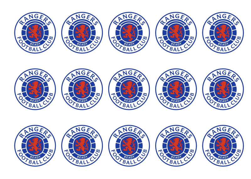 15 printed cupcake toppers with the Rangers Football Club adge