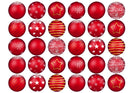 30 edible printed cupcake toppers with red Christmas Bauble designs