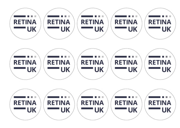 15 printed toppers with the Retina UK logo