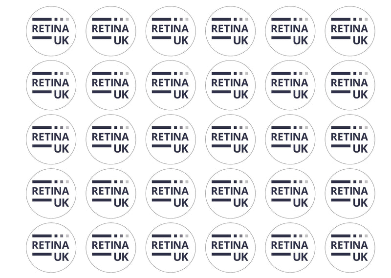 30 edible toppers with the Retina UK logo
