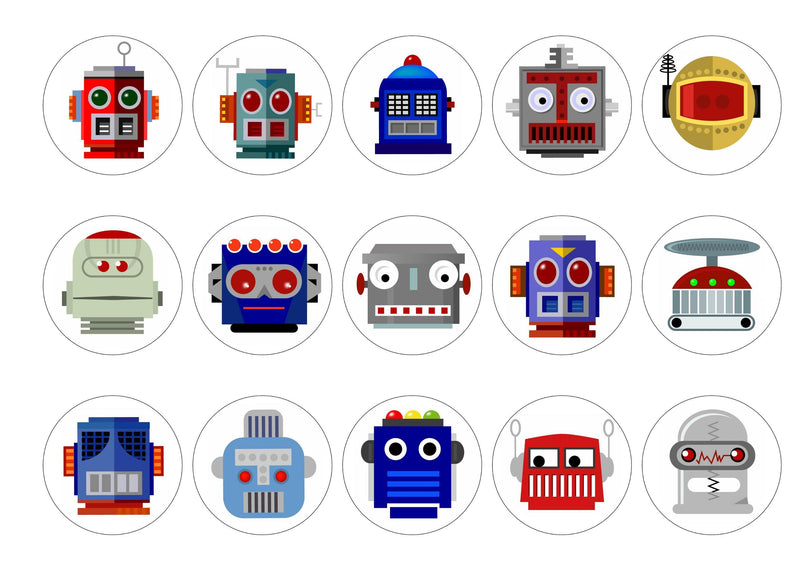 15 printed cupcake toppers with fun Robot images