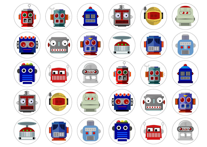 30 edible cupcake toppers with fun Robot images