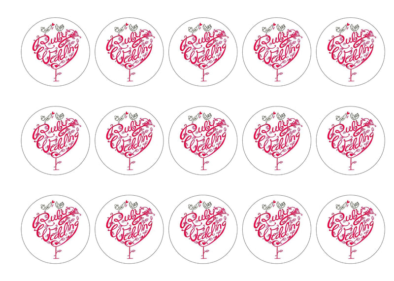15 printed cupcake toppers for a Ruby Wedding Anniversary