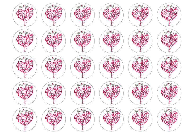 30 edible cupcake toppers for a Ruby Wedding Anniversary