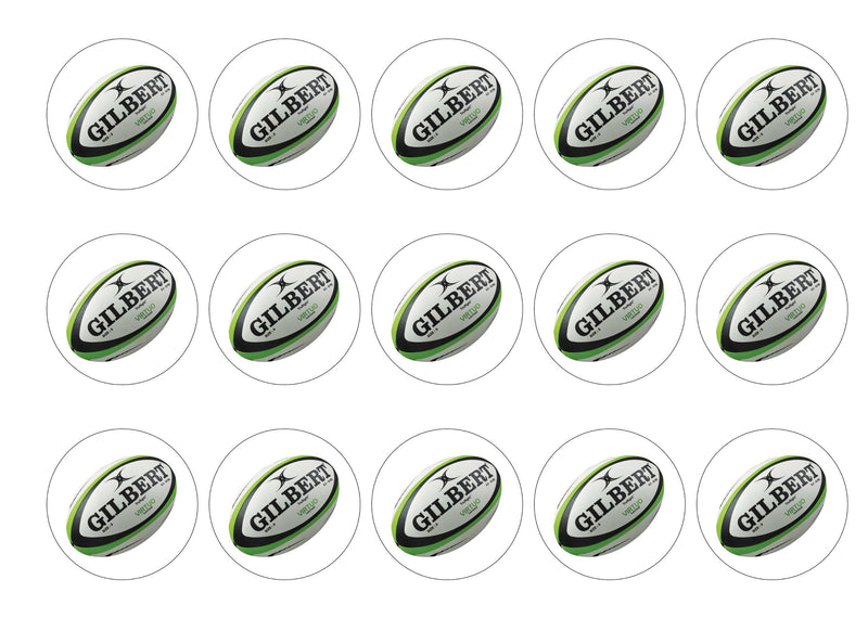 15 printed cupcake toppers with a rugby ball image