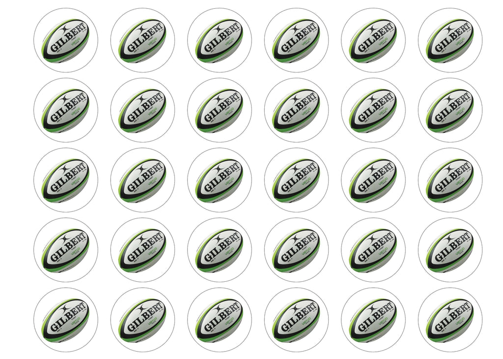 30 edible cupcake toppers with a rugby ball image