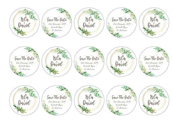 Save The Date wedding cupcake toppers personalised