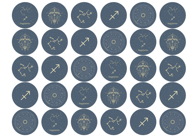 30 edible toppers with Saggitarius zodiac star sign designs