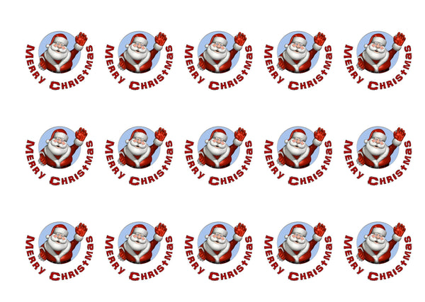 Edible cupcake toppers with Santa image printed on rice paper or icing