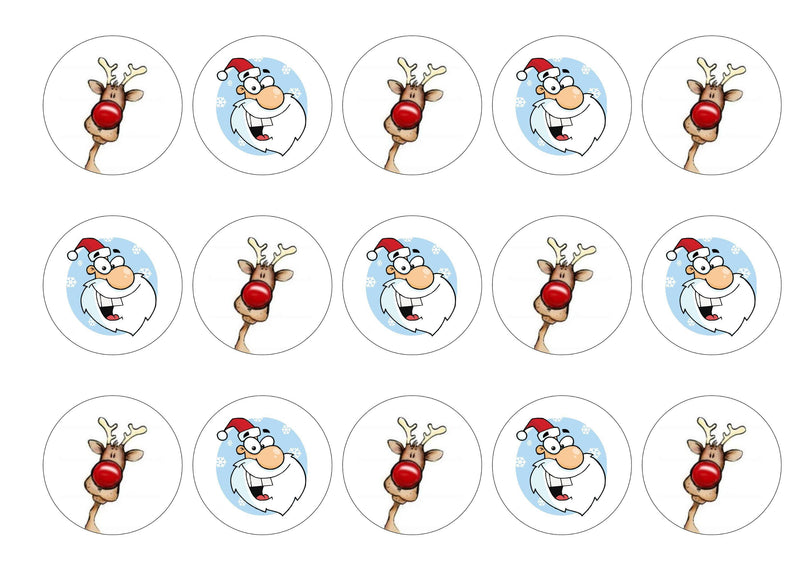 Printed cake toppers featuring Santa and Rudolph especially for Christmas.