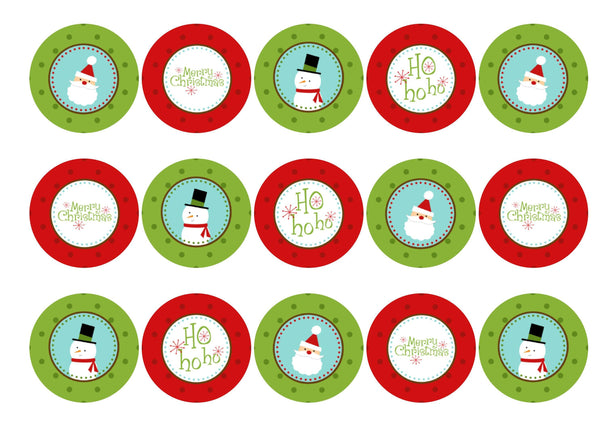 Edible Christmas cupcake toppers and cake toppers with Santa and Snowman images printed on rice paper or icing