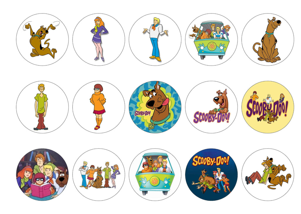 15 printed cupcake toppers with Scooby Doo images