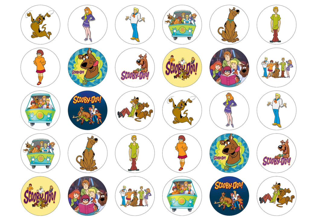 30 edible cupcake toppers with Scooby Doo images