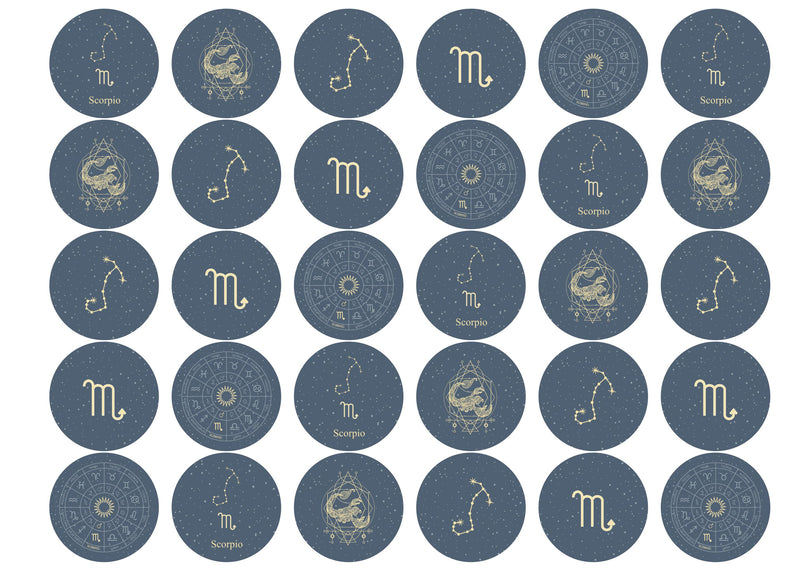 30 edible toppers with Scorpio zodiac star sign design
