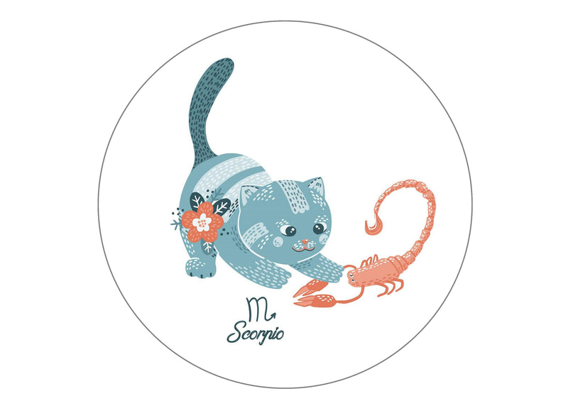 round cake topper with cute cats symbolising Scorpio the Scorpion Star Sign