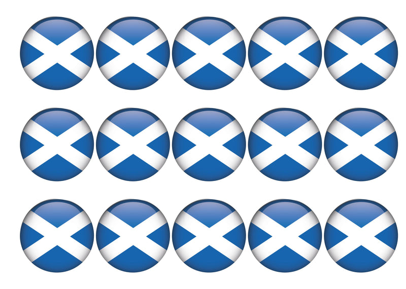 15 cupcake toppers with a scotland flag