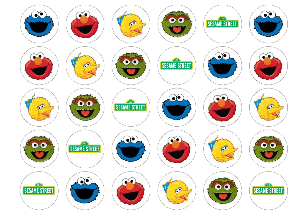 Printed edible cupcake toppers with Sesame Street images