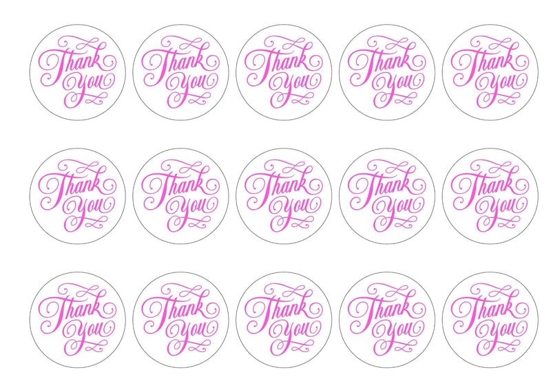 15 printed cupcake toppers with a simple thank you message