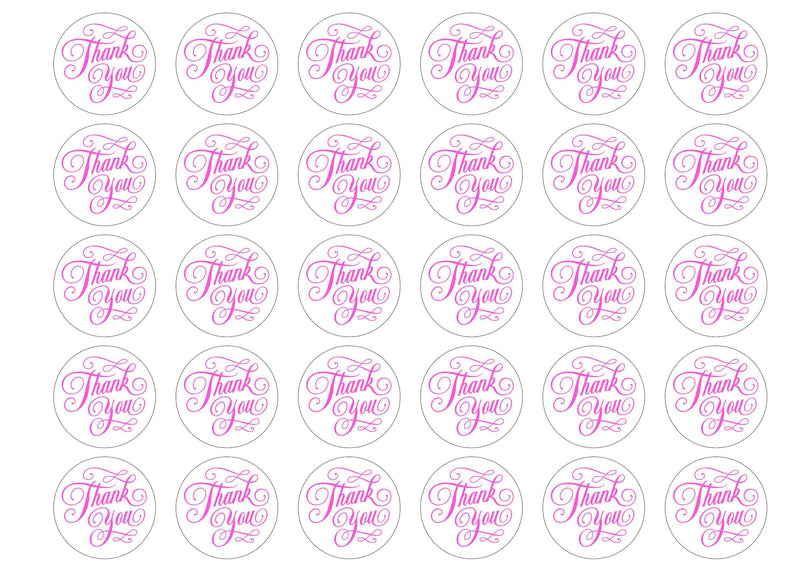 30 edible cupcake toppers with a simple thank you message