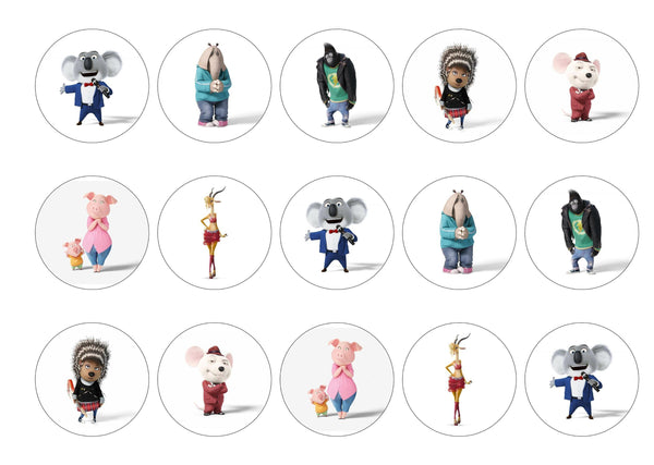 Printed cupcake toppers with the characters from the Sing movie.