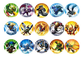 Printed edible cupcake toppers with Skylanders images