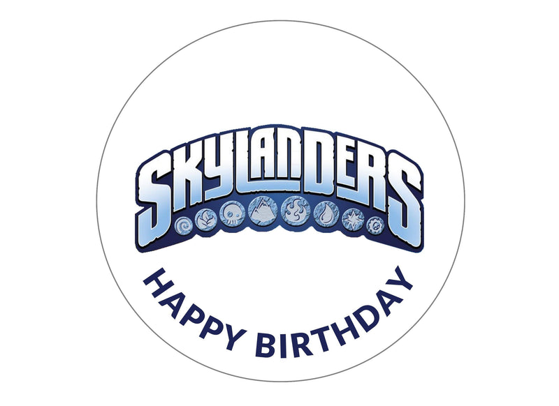 Printed edible cake topper with Skylanders symbol