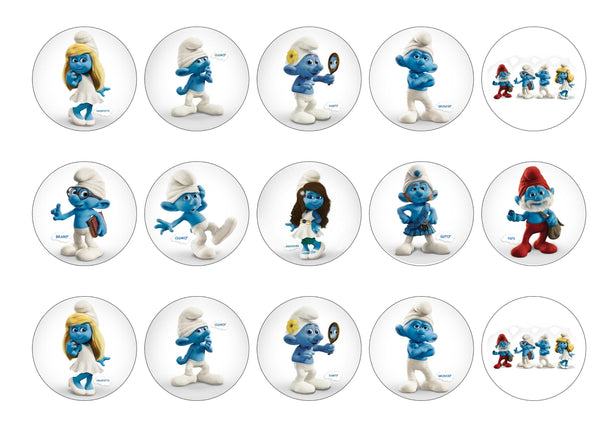 Printed edible cupcake toppers with images of the smurfs