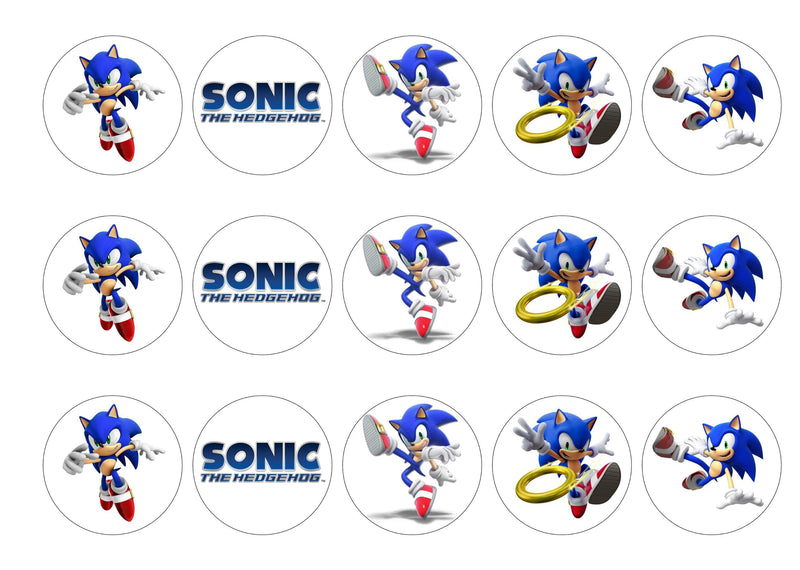 15 printed cupcake toppers with Sonic the Hedgehog