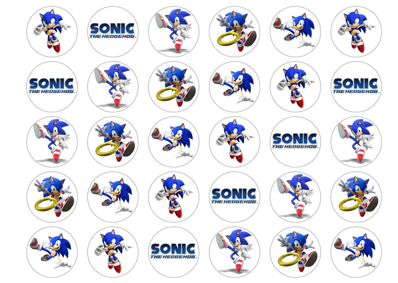 30 edible toppers with Sonic the Hedgehog