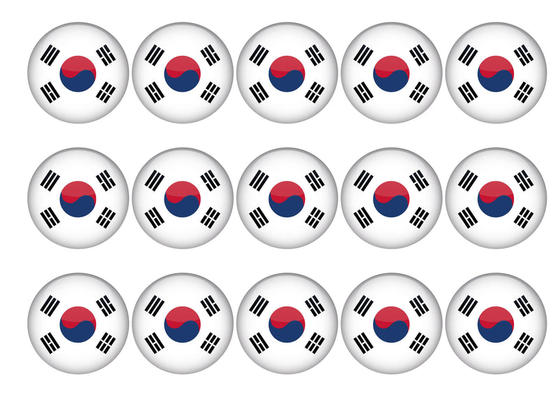 15 toppers with the flag of South Korea