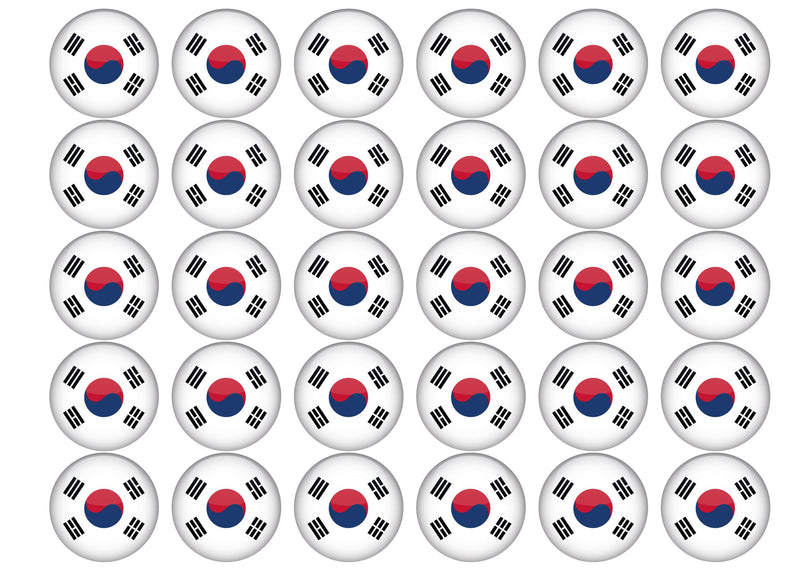 30 edible toppers with the South Korea flag