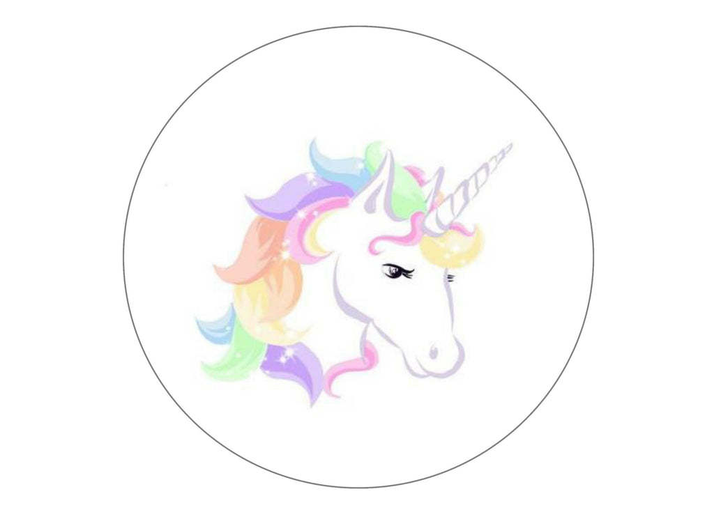 large cake topper with sparkly unicorn images