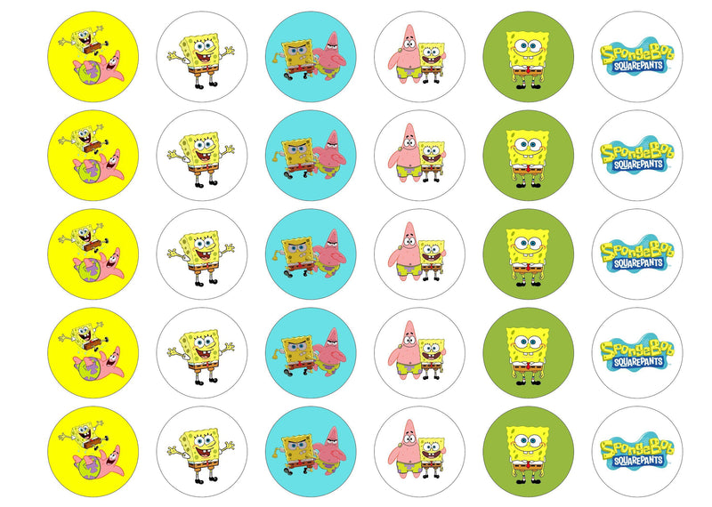 Printed edible cupcake toppers with Spongebob Squarepants