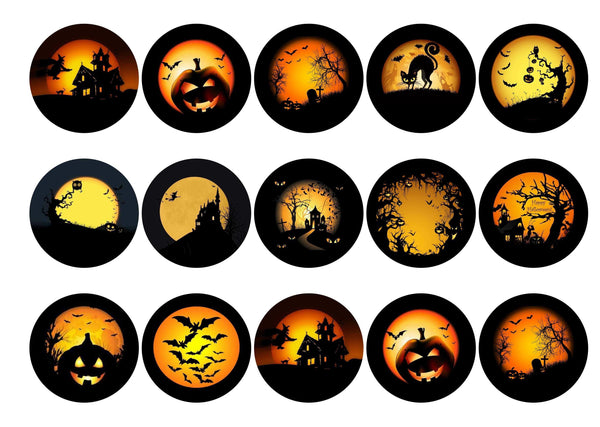 Edible printed cupcake toppers with spooky halloween images