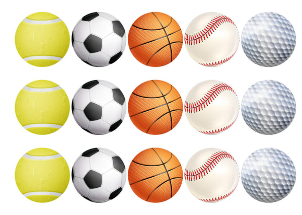 15 cupcake toppers with different sport ball designs